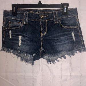Blue asphalt distressed shorts